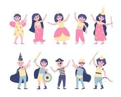 A set of children in carnival costumes for the holiday vector