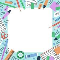 Stationery frame for school theme design vector