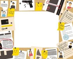 A frame with the advancement of a detective investigation on a cork board vector