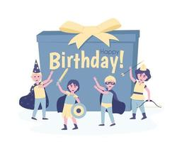 Boys with a present in carnival costumes for their birthday vector