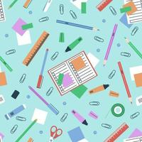 Stationery seamless pattern for school subjects vector