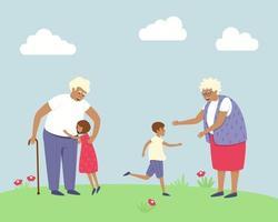 abuelos felices conocieron a sus nietos vector