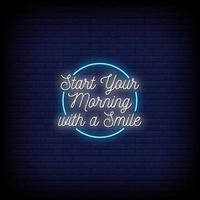 Start Your Morning Neon Signs Style Text Vector