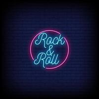 Rock and Roll Neon Signs Style Text Vector