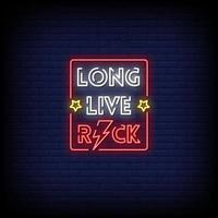 Long Live Rock Neon Signs Style Text Vector
