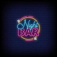 vector de texto de estilo de letreros de neón de bar nocturno