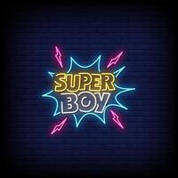Super Boy Neon Signs Style Text Vector