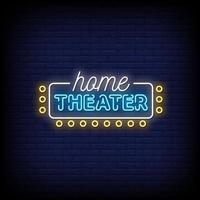 vector de texto de estilo de letreros de neón de cine en casa