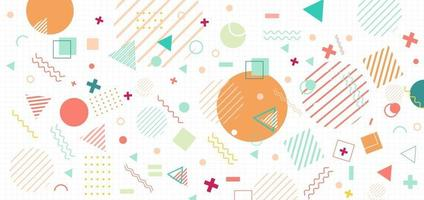 Memphis geometric background. Colorful shapes pattern, vivid coloring texture on grid white background. For posters. vector