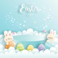 Happy Easter day with cute rabbit and round podium for product display. vector