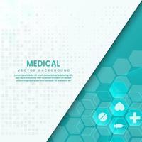 Fondo azul abstracto del modelo del hexágono. concepto médico y científico y patrón de icono de atención médica. vector