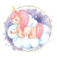 Digital Paint Unicorn watercolor. vector