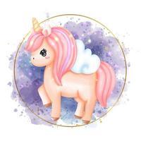 Acuarela de unicornio de pintura digital. vector