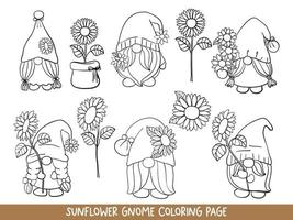 Sunflower Gnomes Doodle, Sunflower Gnome Coloring Page. vector