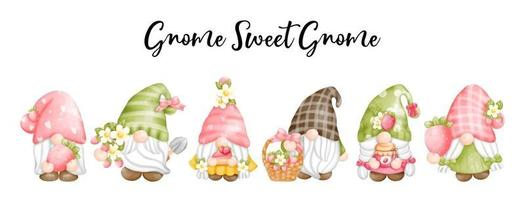 Digital paint watercolor strawberry gnomes isolated on white background. Cute gnome spring season greeting card. vector