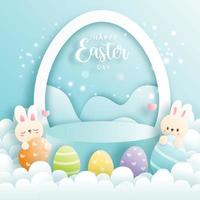 Happy Easter day with cute rabbit and round podium. Vector illustration.