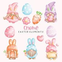 Easter Gnome watercolor element set vector