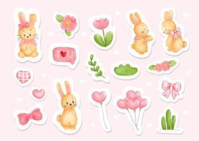 Easter rabbit sticker, planner and scrapbook vector