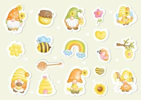 Bee happy with cute gnome and bees, Digital paint sticker vector