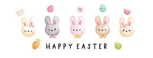 Easter rabbit banner vector