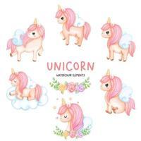 Unicorn watercolor element set