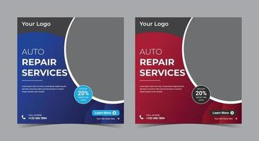 Auto Repair Services social media post and flyer vector