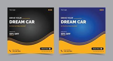 conduzca el auto de sus sueños en las redes sociales, alquiler de autos, publicación en las redes sociales de motivo del automóvil y folleto vector