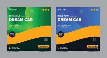 Drive your dream car social media, car rent , auto motive social media post and flyer vector