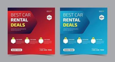 Best Car Rental Deals social media, car rent social media post and flyer vector