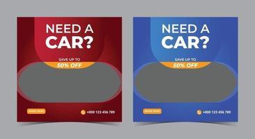 Need a car social media, car rent social media post and flyer vector
