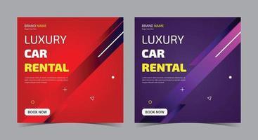 Luxury car rental social media, car rent social media post and flyer vector