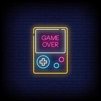juego sobre letreros de neón estilo vector de texto