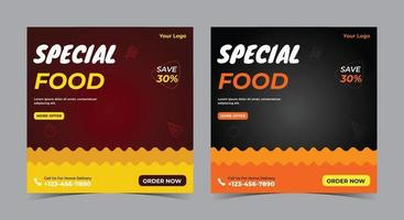 Special Food poster, food social media post and flyer vector