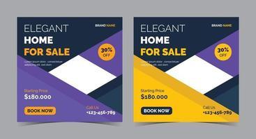 Elegant Home for sale poster, real estate social media post and flyer vector