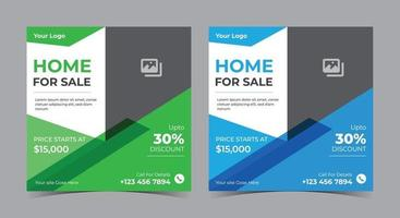 Home for sale poster, real estate social media post and flyer vector