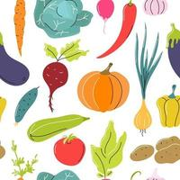 Vector Vegetable seamless pattern on a white background