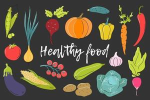 Set of fresh vegetables on a dark gray background. Vector flat image