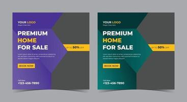 Premium Home for sale poster, real estate social media post and flyer vector