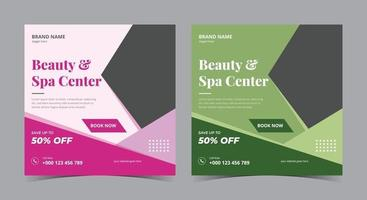 Beauty and Spa Center poster, Spa social media post and flyer vector