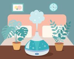 Humidificador en el dormitorio con plantas caseras sobre la mesa. dispositivo ultrasónico, aromatización del aire. ilustración vectorial en estilo de dibujos animados vector