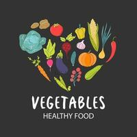 A set of fresh vegetables arranged in a heart shape on a dark gray background. Natural food, vegetarianism. Vector flat image, icon