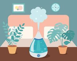 Humidifier in the bedroom with home plants on the table. Ultrasonic device, air aromatization. Vector illustration in cartoon style