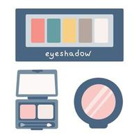 A set of eye shadows, cosmetics for makeup. Vector flat image on a white background