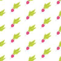 Fresh radish on a white background. Vector seamless pattern
