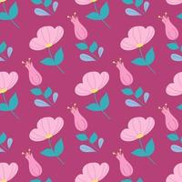 Floral seamless pattern in a flat style on a dark pink background vector