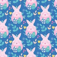 Pink Easter bunny with eggs and plants on a blue background. Vector seamless pattern