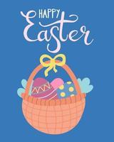 canasta de mimbre con huevos de pascua. tarjeta de felicitación, cartel. ilustración vectorial en estilo plano con letras a mano vector