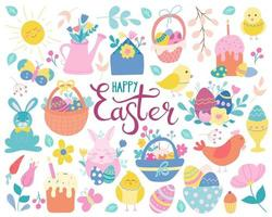 A large hand-drawn Easter set in a flat style. Eggs, chickens, rabbit, willow, baskets, flowers and cakes. Vector illustration is perfect for greeting cards, posters, decoration