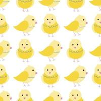 Cute yellow chickens on a white background. Vector seamless pattern in flat style