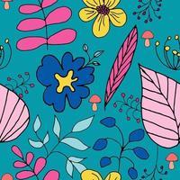 patrón transparente de vector con plantas de estilo doodle sobre un fondo oscuro, elementos multicolores con un contorno negro